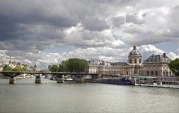 Paris - Pont des Arts and Instutut de France Stock Image