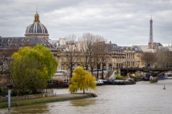 Paris, Pont des Arts and river Seine Royalty Free Stock Images