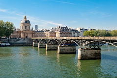 Paris, Pont des Arts on Seine river Royalty Free Stock Image