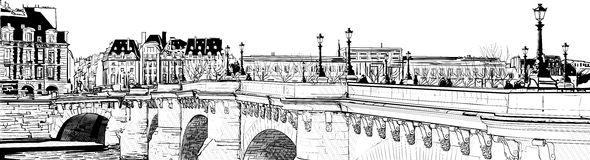 Paris - Pont neuf. Vector illustration of a view of Paris (pont neuf Stock Images