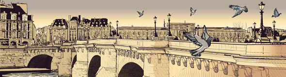 Paris - Pont neuf. Vector illustration of a view of Paris (pont neuf Royalty Free Stock Photo