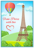 Paris Post Card. Colored paris post card with Eiffel Tower and headline from paris with love vector illustration Stock Photography