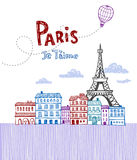 Paris post card. Eiffel tower in Paris, post card in doodle style Royalty Free Stock Photography