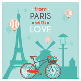 Paris Post Card. Light blue paris post card with multicolored headline from paris with love vector illustration vector illustration