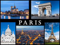 Paris postcard: Notre Dame, Eiffel Tower, Basilica of Sacred Heart, Arc of Triumph and a skyline of the city. Stock Image