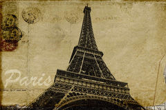 Paris postcard. Paris vintage postcard with Eiffel Tower Royalty Free Stock Images