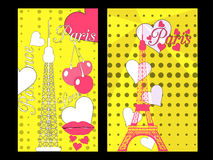 Paris poster with heart. Romantic collage from the Eiffel Tower, a cherry and a kiss. France. Royalty Free Stock Photo