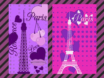 Paris poster with heart. Romantic collage from the Eiffel Tower, a cherry and a kiss. France. Stock Images