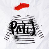 Paris poster striped sweater Royalty Free Stock Photos