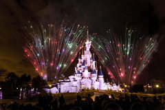 Paris Princess's Castle. Fireworks launched behind the front view of Princess's Castle in Disneyland Paris (France&#x29 Stock Photography