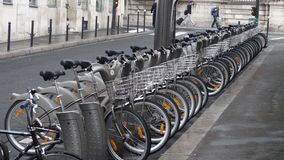 Paris public bikes Stock Photo