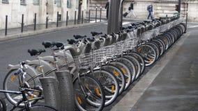 Paris public bikes. A row of public bikes in Paris Stock Photo