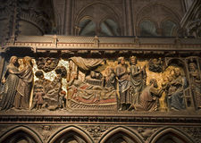 Paris - reliefs of Jesus life - Notre-Dame Royalty Free Stock Image