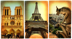 Paris - retro cards Stock Photos