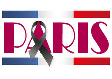 Paris ribbon. Paris with a black ribbon for terrorist attack Stock Photos