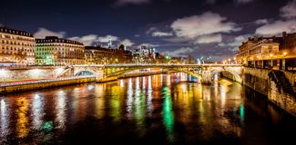 Paris river at night. Seine River at Night in Paris France Royalty Free Stock Image