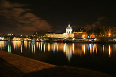 Paris and river seine by night Royalty Free Stock Image