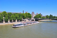 Paris. River Seine in a sunny summer day Royalty Free Stock Photos