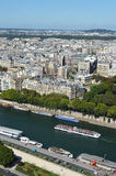 Paris and river Seine. View of Paris and river Seine, France, from the Eiffel tower Royalty Free Stock Images