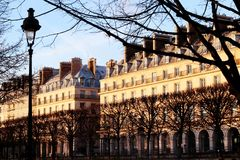 Paris facades from Tuileries Gardens at sunset Paris france. Rivoli street. Near Place de la Concorde, one of the most famous and longest streets in Paris, a royalty free stock photo
