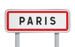 Paris road sign. Vector illustration of isolated Paris French road sign Stock Photography