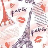 paris Rocznika bezszwowy wzór z wieżą eifla, buziakami, sercami i akwareli pluśnięciami, ilustracji