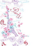 Paris romantic doodle card. Romantic travel in Paris. Vector Stock Photos