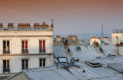 Paris roof and eiffel tower Stock Photography