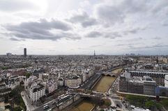 Paris roofs with a birds-eye view from Notre Dame de Paris Stock Photos