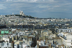 Paris roofs and Montmartre hill Royalty Free Stock Images