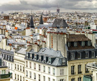 Paris roofs panoramic overview at summer day Stock Photo