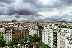 Paris roofs panoramic overview at summer day Royalty Free Stock Photography