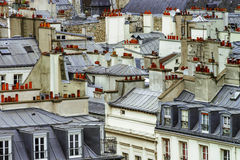 Paris roofs panoramic overview at summer day royalty free stock photo