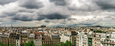 Paris roofs panoramic overview at summer day Royalty Free Stock Photos
