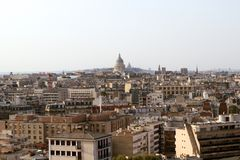 Paris roofs skyline with Panthéon basilique in the background, Paris, France. Aerial panoramic view with Panthéon basilique on top of sainte genevieve hill stock images