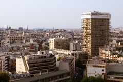 Paris roofs skyline with 70s architecture buildings, Paris, France Royalty Free Stock Photos