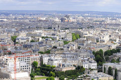 Paris rooftops aerial view. Paris cityscape with white buildings, rooftops and Triumphant Arc Stock Photography