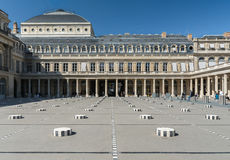 Paris, Royal Palace, Columns of Buren, roof of the Comédie Fran royalty free stock photo