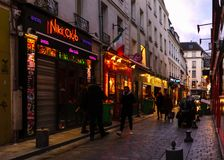 Paris - Rue de Lappe stock image