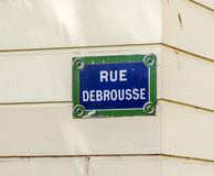 Paris, Rue Debrousse old street sign Royalty Free Stock Photo