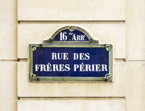 Paris, rue des freres perier old street sign Royalty Free Stock Image
