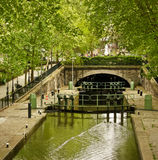 Paris's Canal St. Martin Royalty Free Stock Photo