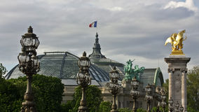 Paris's Grand Palais and Pont Alexandre III Stock Photo