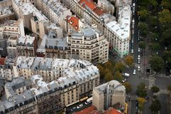 The paris`s housetops and crossroads Royalty Free Stock Photos