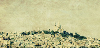 Paris sacre coeur. Sacre coure  montmartre view in paris on vintage background Royalty Free Stock Photography