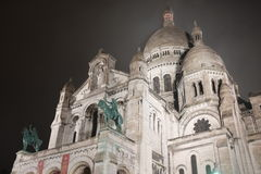Paris` Sacre Coeur at Night Stock Photos