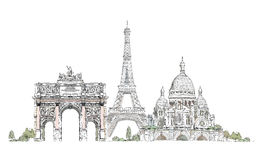 Paris, Sacred Heart in Montmartre,  Thriumph arch and Eiffel Tower, sketch collection Royalty Free Stock Photos