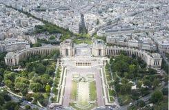 Paris sah von der Oberseite des Eiffelturms an Stockfoto