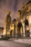 Paris - Saint Germain-l'Auxerrois gothic church. In the night Royalty Free Stock Photo