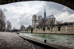 Paris scenic view on Notre-Dame Stock Photos